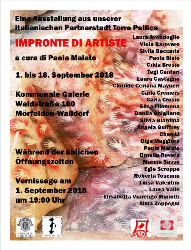 """Kunstausstellung """"Impronte di Artiste"""" aus Torre Pellice vom 01.09.2018 bis 16.09.2018"""