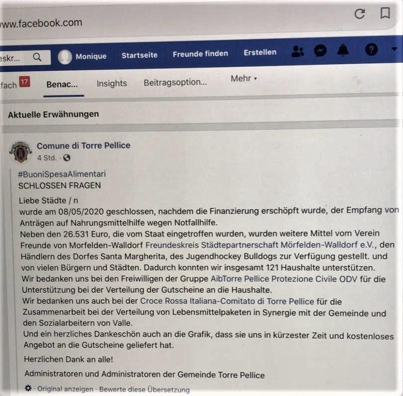 Torre Pellice dankt per Facebook Nachricht